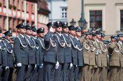 Marine-Soldatgruß Stockfotos