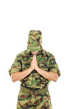 Marine soldier officer praying in military uniform Royalty Free Stock Photos