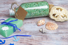 Marine spa products: sea salt, soap, shells and accessories Royalty Free Stock Images
