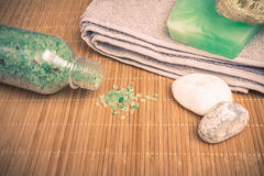 Marine spa products: sea salt, soap, shells and accessories Stock Photos