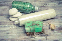 Marine spa products: sea salt, soap, shells and accessories Stock Photography