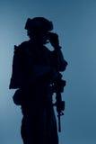 Marine Special Operator-silhouet stock fotografie