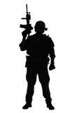 Marine Special Operator-silhouet stock afbeeldingen