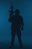 Marine Special Operator-silhouet royalty-vrije stock fotografie