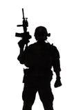 Marine Special Operator-silhouet stock foto