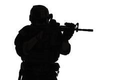 Marine Special Operator-silhouet royalty-vrije stock foto's
