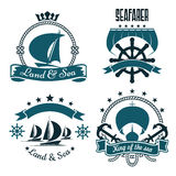 Marine sport, yacht club design with sailing ships Stock Photography