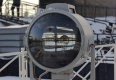 Big marine transparent spotlight. light bulb inside royalty free stock photo