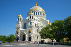 Marine St. Nicholas Cathedral on the Anchor square, sunny may day. Kronshtadt, Russia Royalty Free Stock Photography