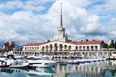 Marine Station. Building of the marine station in the city of Sochi in Russia Royalty Free Stock Photography