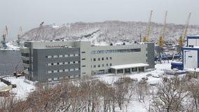 Marine Station i havsport Petropavlovsk-Kamchatsky på Kamchatka lager videofilmer