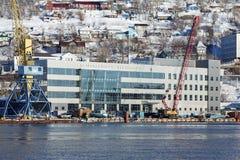 Marine Station in porto marittimo Petropavlovsk-Kamcatskij su Kamchatka Immagini Stock Libere da Diritti