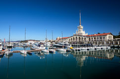 Marine station in Sochi stock images