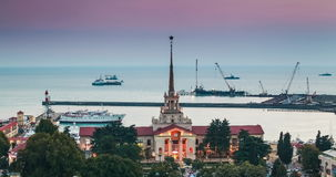 Marine Station of Sochi, View from City. Marine station Port of Sochi, Krasnodar Krai. Seaport in Sochi. Russia stock video footage
