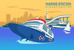 Marine station, vector flat background Stock Images