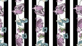 Marine streifte Druck mit Blumensträußen der Pfingstrose, der Orchideen und der Mohnblumen Stockbild