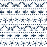 Marine striped seamless pattern with anchors, fishes, starfishes, dots in navy blue and white, vector. Background Stock Photos
