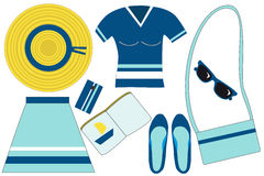 Marine stripes set on white background. Yellow wide-brimmed hat, blue t-shirt, skirt, a mobile phone, a bag, sunglasses, shoes, a book stock illustration