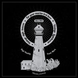 Marine style engraving white lighthouse on black Royalty Free Stock Image