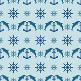 Marine style seamless vector pattern Royalty Free Stock Photo