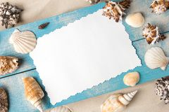 Marine summer postcard. Seashells on blue wooden boards in the sand on the beach stock photo