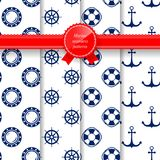 Marine Summer Seamless Pattern illustration stock
