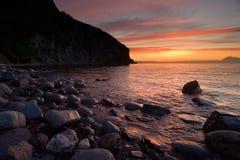 Marine sunset. Evening light sunset on the beach Stock Images