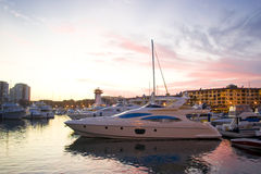 Marine sunset. Marina of puerto vallarta in color sunset day royalty free stock photography