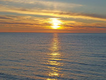 Marine sunset, sun path in the sea Royalty Free Stock Image