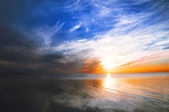 Marine sunset, sun reflected in the water Stock Image