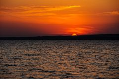 Marine sunset on Taman Gulf. Timelapse. Beautiful sunset on Taman Gulf of Black Sea, amazing colors. Timelapse Royalty Free Stock Photography