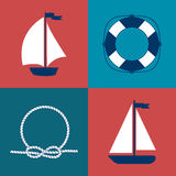 Marine Symbol Éléments nautiques de conception Image stock