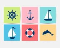 Marine Symbol Éléments nautiques de conception illustration libre de droits