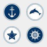 Marine Symbol Elementi nautici di progettazione Immagini Stock