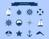 Marine Symbol Elementi nautici di progettazione Fotografie Stock