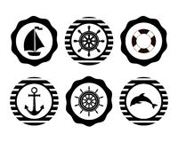 Marine Symbol Elementos náuticos del diseño Foto de archivo