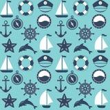 Marine symbol. Nautical design elements. Seamless marine pattern. Sea and nautical backgrounds. Marine background. Set of sea and nautical decorations. Vector Royalty Free Stock Photo