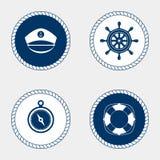 Marine symbol. Nautical design elements. Royalty Free Stock Photos