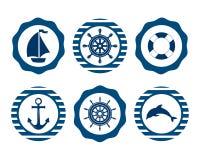 Marine Symbol Nautiska designbeståndsdelar Arkivbilder