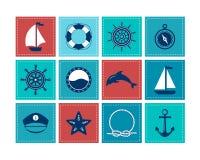 Marine Symbol Zeevaartontwerpelementen Stock Foto