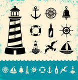 Marine symbols. Illustration of set marine icons Stock Photos