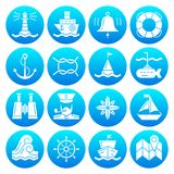 Marine symbols nautical white silhouette icon set. Nautical white silhouette icon set. Marine monochrome flat design symbol collection. Simple navigation Royalty Free Stock Photography