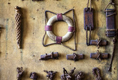 Marine Symbols on the Wall. High detailed photo royalty free stock photos