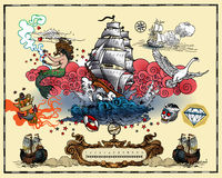 Marine tattoos. Vector set of marine tattoos  on white background Stock Photos