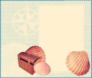 Marine template. Marine theme template with shells stock illustration
