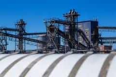 Marine terminal shipment of bulk materials Elevator royalty free stock photo