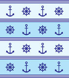 Marine theme background blue anchor rudder Royalty Free Stock Photo