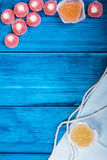 Marine theme blue background. Marmalade and heart Stock Photo