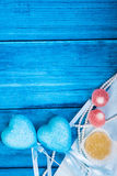 Marine theme blue background. Marmalade and heart Stock Image