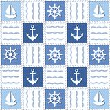 Marine theme. Blue sea seamless pattern Stock Images
